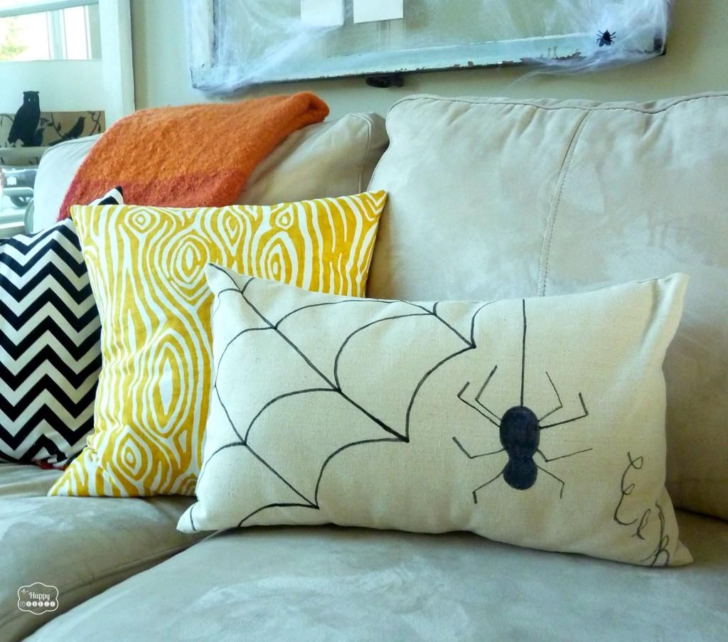 drop cloth sharpie pillow closeup by thehappyhousie