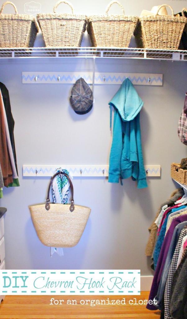 DIY Chevron Hook Rack for an organized closet by the happy housie