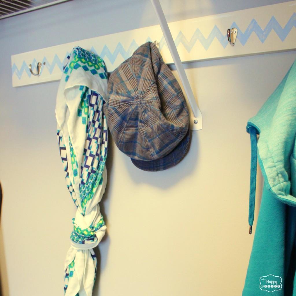 DIY Chevron Hook Rack in closet at the happy housie