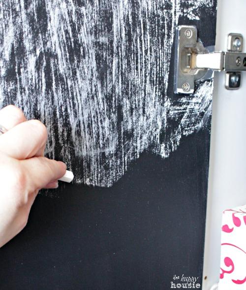 DIY Chalkboard Paint for Pantry Doors seasoning new chalkboard at The Happy Housie