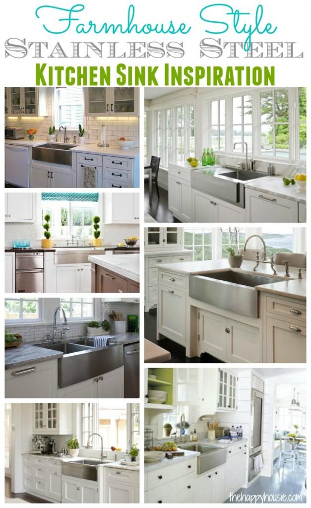 Farmhouse Style Stainless Steel Kitchen Sink Inspiration at thehappyhousie.com